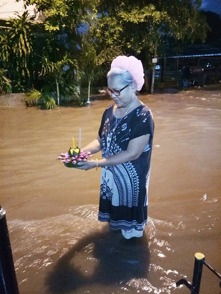 Loy Krathong is a celebration of the water goddess and she certainly did her part for the occasion, dumping a torrential downpour on Pattaya that would float many a krathong.
