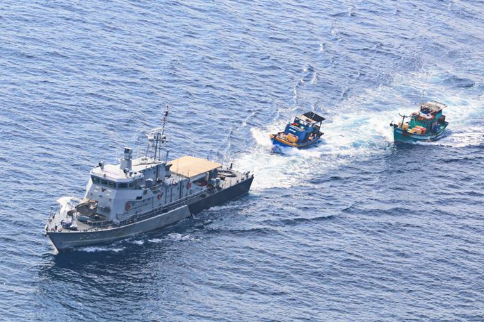The Royal Thai Navy impounded two Vietnamese fishing boats found fishing illegally in the Gulf of Thailand.