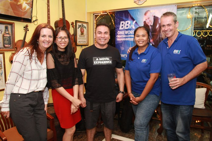 Alex Paleksi of Chicha Restaurant & Hotel is flanked by Gloria Jones, Nutsara Duangsri, Sales & Marketing Manager of Pattaya Mail and the BBX team.