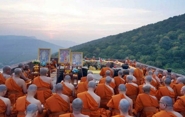 Thai monks gather atop the tranquil mountains of Nepal.