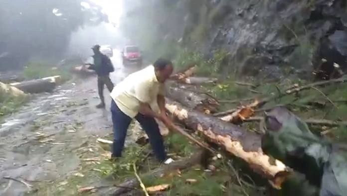 In this grab made from video, a man chops branches from a tree to clear a road after a cyclone struck Cuddalore, in the southern Indian state of Tamil Nadu, Friday, Nov. 16. (KK Production via AP)