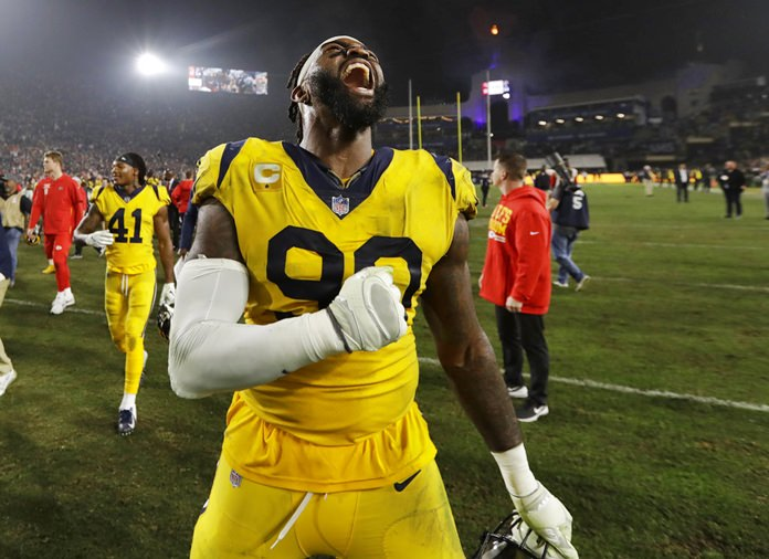 Los Angeles Rams defensive end Michael Brockers celebrates after the Rams beat the Kansas City Chiefs 54-51 in an NFL football game, Monday, Nov. 19, in Los Angeles. (AP Photo/Marcio Jose Sanchez)