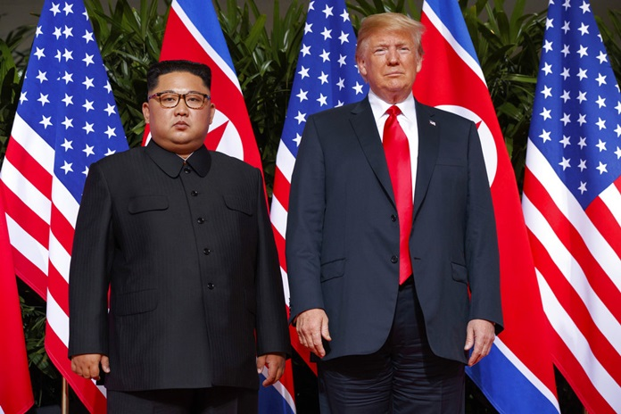 In this June. 12, 2018, file photo, U.S. President Donald Trump, right, meets with North Korean leader Kim Jong Un on Sentosa Island, in Singapore. (AP Photo/Evan Vucci)