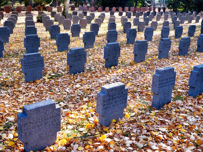 A field of graves belonging to WWI soldiers in the main cemetery in Frankfurt, Germany, Saturday, Nov. 3, 2018. (AP Photo/Michael Probst)