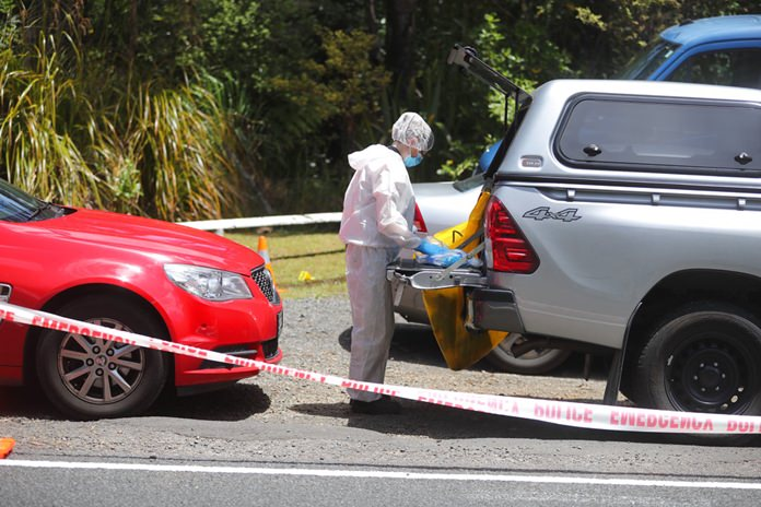 A police officer investigating the murder of British tourist Grace Millane stands at a crime scene along a section of Scenic Drive in the Waitakere Ranges outside Auckland, New Zealand, Sunday, Dec. 9. (Doug Sherring/New Zealand Herald via AP)
