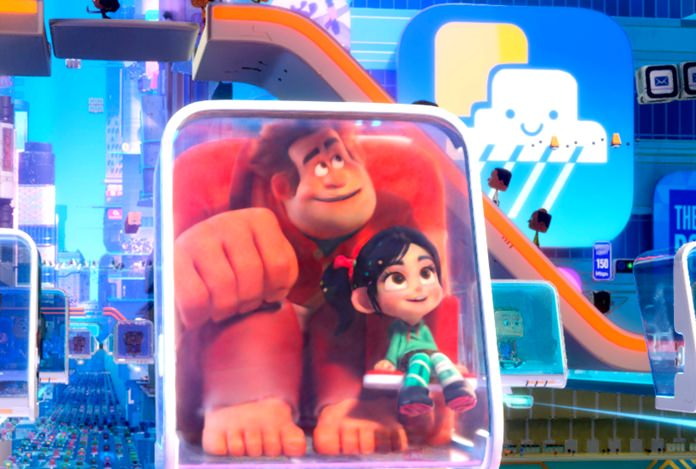 """This image shows characters Ralph and Vanellope von Schweetz in a scene from """"Ralph Breaks the Internet."""" (Disney via AP)"""