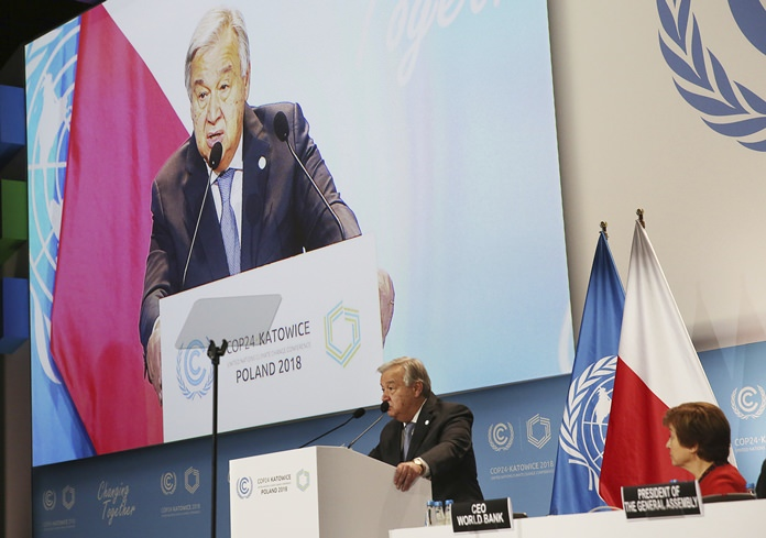 UN Secretary General Antonio Guterres delivers a speech during the opening of COP24 UN Climate Change Conference 2018 in Katowice, Poland, Monday, Dec. 3, 2018. (AP Photo/Czarek Sokolowski)