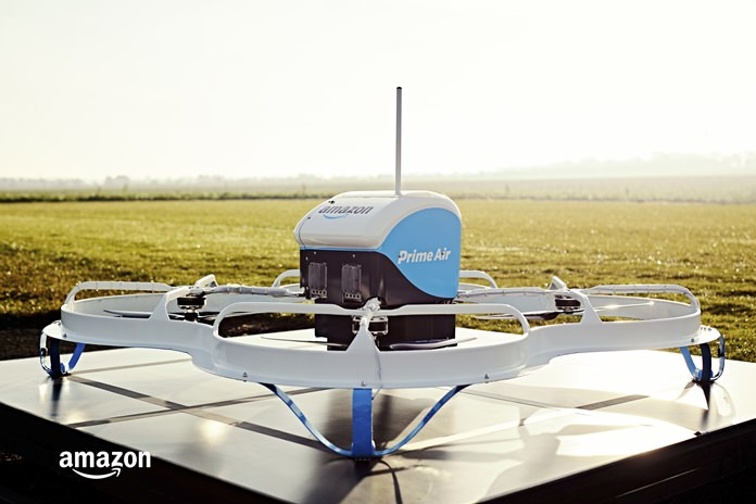 This Dec. 7, 2016, file photo provided by Amazon shows an Amazon Prime Air drone in Cambridgeshire, United Kingdom. (Amazon via AP, File)