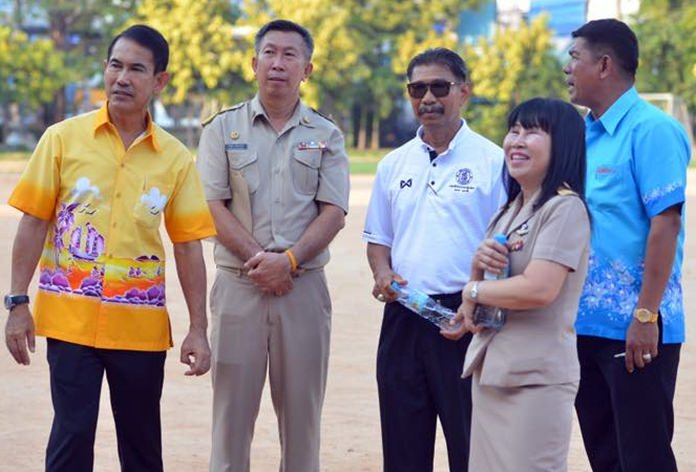 Deputy Mayor Pattana Boonsawat led city engineers and school officials to Pattaya schools 5 and 8 to discuss upgrading athletic fields there.