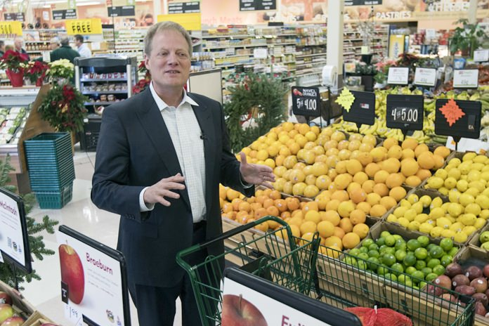 In this Dec. 6, 2016 file photo, Brian Wansink speaks during an interview in the produce section of a supermarket in Ithaca, N.Y. On Thursday, Dec. 6, 2018, more work by the prominent food researcher has been retracted because of problems with the data. (AP Photo/Mike Groll)