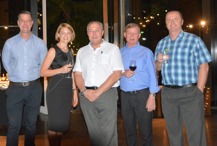 Jay Penno, Cluster GM for Best Western Hotels and Resorts, Kate Gerits Regional General Manager Thailand Central & South at InterContinental Hotels Group, Rene Pisters, Hans Banziger, MD of Swiss Paradise and Holger Groninger.