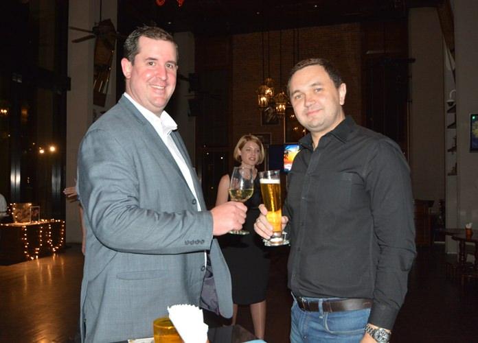 Simon Angove, GM of Pullman Pattaya Hotel G chats with Dmitry Chernyshew, GM of Siam@Siam Design Hotel Pattaya.