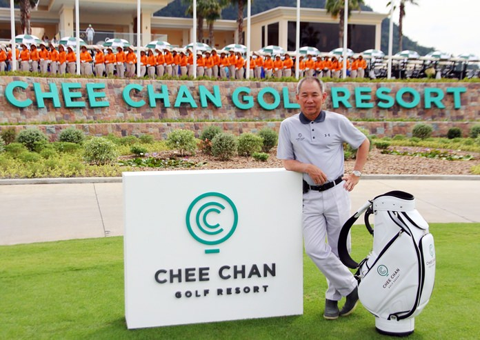 Narit Chia-Apar, Chairman of Chartered Square Holding and founder and owner of Chee Chan Golf Resort, poses in front of the clubhouse on the grand opening day, December 12.