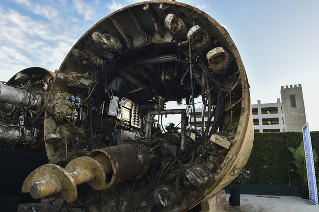 Musk said a new tunnel-boring machine will be able to bore four times faster than the one his company has been using so far. (Robyn Beck/Pool Photo via AP)