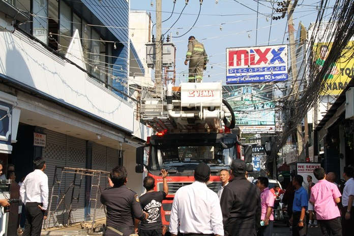 Pattaya drove a fire truck down Walking Street to check that signs and billboards wouldn't impede emergency-response vehicles.