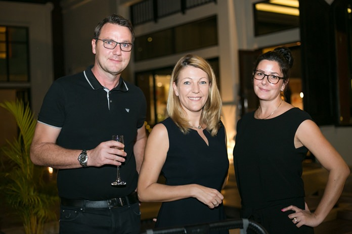 Jacqui Cuthbertson is flanked by Uwe Quaas, Managing Director of BMW Group Manufacturing Thailand and Nathalie.