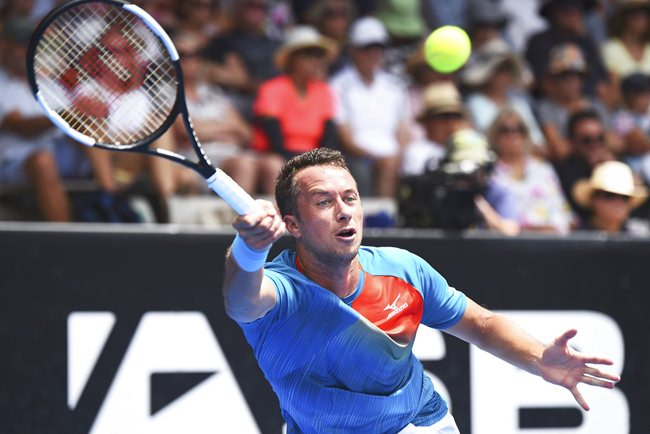 Philipp Kohlschreiber from Germany plays against Fabio Fognini from Italy during the quarter finals of the ASB Classic men's tennis tournament in Auckland, New Zealand, Thursday, Jan. 10. (AP Photo/Chris Symes)