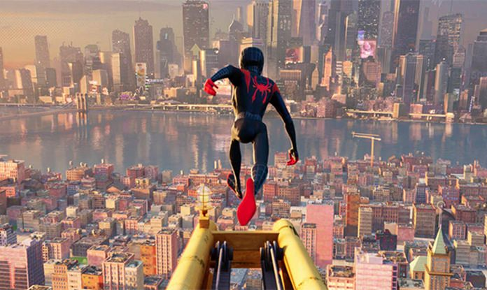 """This image shows a scene from """"Spider-Man: Into the Spider-Verse."""" (Sony Pictures Animation via AP)"""