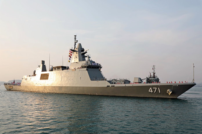 The Royal Thai Navy welcomed its most-celebrated warship in decades when the HTMS Bhumibol Adulyadej arrived at the Sattahip Naval Base.