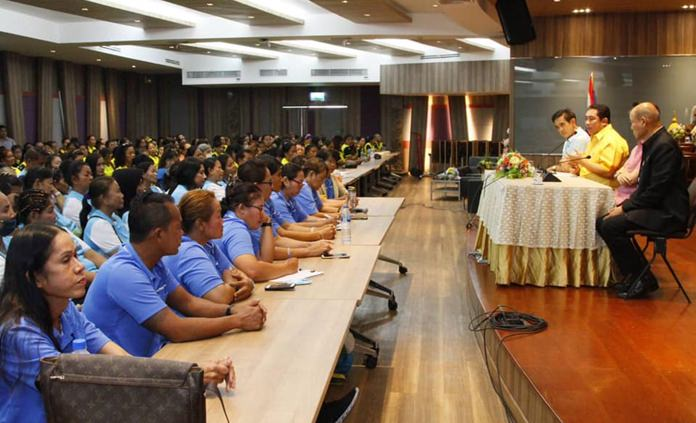 During a city hall meeting nearly 600 Pattaya and Jomtien beach masseuses were checked to ensure they're properly trained and registered.