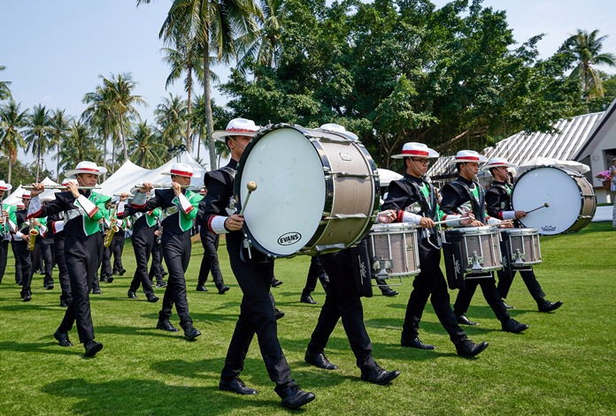 The Wat Suthi Wararam Marching Band provided a musical prelude to the polo action.