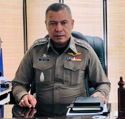 Pol. Col. Apichai Kroppech, Superintendent of Pattaya Police Station warns people to carefully check credentials before giving money to charity panhandlers on the street.