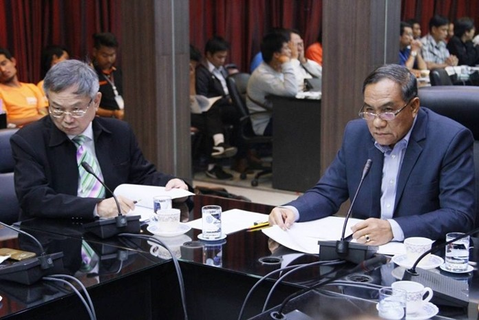 You want to charge how much? City Councilman Adm. Srivisut Rodarun chairs a meeting during which CAT Telecom has come back to the table with a 75-percent price cut to keep the citywide project to bury cables on schedule.