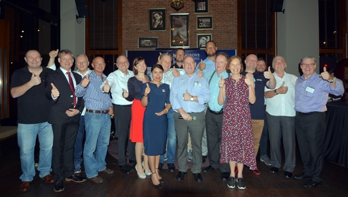 Sponsors and representatives of the Joint Chambers give the thumbs-up to a most enjoyable networking evening at the Holiday Inn.