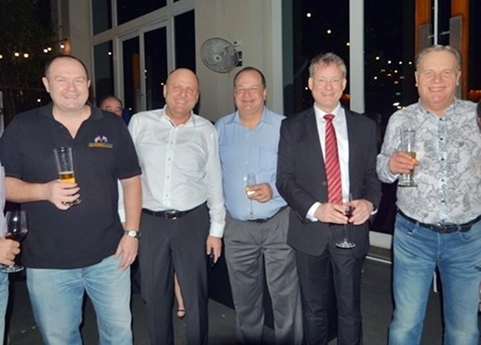 AustCham Exec. Dir. Brendan Cunningham, GTCC Exec. Dir. Dr. Roland Wein, BCCT Exec. Dir. Greg Watkins, PKF Thailand CEO Andrew McBean, and Manpower Group CEO Simon Matthews.