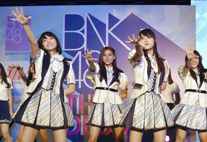 In this June 2, 2017, file photo, Thai pop band BNK 48 performs for the first time in Bangkok. (The Yomiuri Shimbun via AP Images)