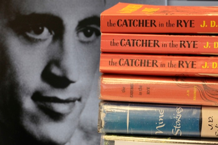 "This Thursday, Jan. 28, 2010, file photo shows copies of J.D. Salinger's classic novel ""The Catcher in the Rye"" as well as his volume of short stories called ""Nine Stories"" at the Orange Public Library in Orange Village, Ohio. (AP Photo/Amy Sancetta)"