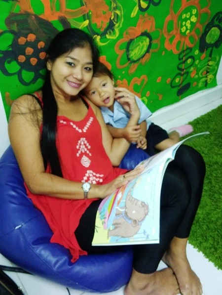 Several parents popped in to the reading cafe to read to their children during Book Week.