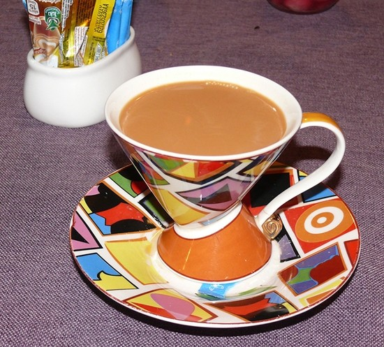 Indian 'chai' came in a faux Clarice Cliff cup and saucer set.