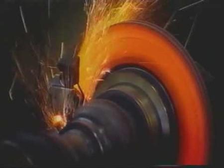 Glowing brake rotor.