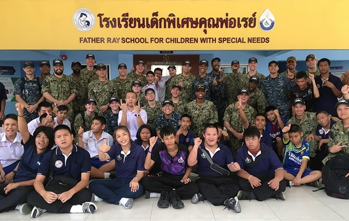 This group from the USS John C. Stennis visited the Father Ray Foundation where they spent a morning not only meeting the children and students, but also having a lot of fun.