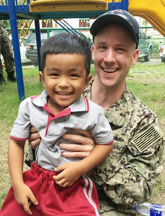 Some military personnel have been away from their own families for many months.