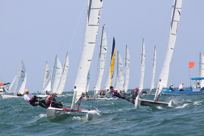 Crews compete during race one of the Dart 18 World Championships at Royal Varuna Yacht Club in Pattaya, Sunday, Feb. 17.