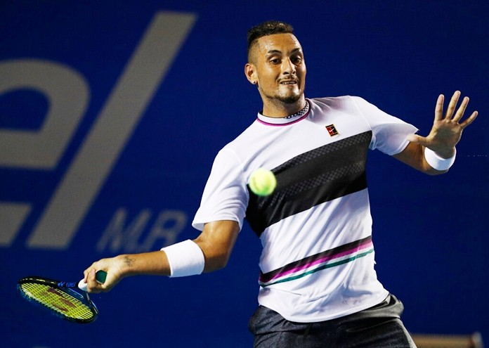 Australia's Nick Kyrgios plays a ball in his Mexican Tennis Open quarterfinal match against Switzerland's Stan Wawrinka, in Acapulco, Mexico, Thursday, Feb. 28. (AP Photo/Rebecca Blackwell)