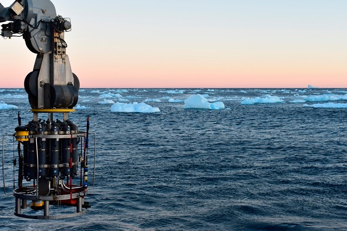 In this September 2018 photo provided by researcher Isabela Le Bras, a probe which collects water samples and measures temperature, salinity and pressure is prepared for deployment on the continental shelf of Greenland. Scientists were studying the Atlantic Meridional Overturning Circulation (AMOC), a circulation of warm and cold waters that stretches from around Greenland south to beyond the tip of Africa and into the Indian Ocean. (Isabela Le Bras via AP)