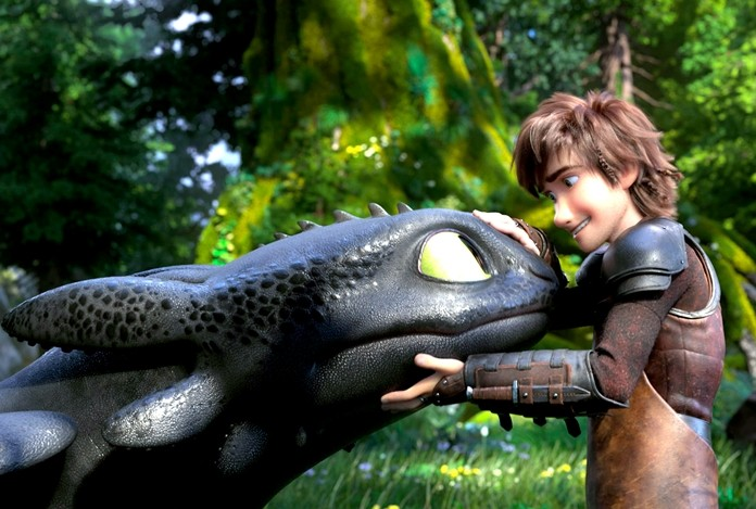 "This image shows characters Toothless (left) and Hiccup, voiced by Jay Baruchel, in a scene from DreamWorks Animation's ""How to Train Your Dragon: The Hidden World."" (DreamWorks Animation/Universal Pictures via AP)"