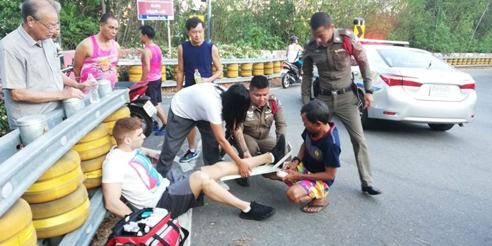 A foreign man broke his leg when he crashed his motorbike in a one-vehicle accident on Pratamnak Hill.