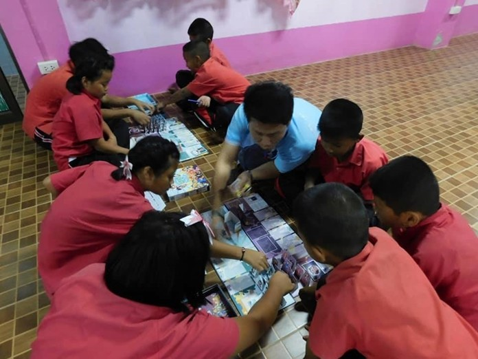 Students at Huay Yai's Tungka School played games to better protect themselves from abuse by strangers and family members during a visit by Human Help Network Thailand social workers.