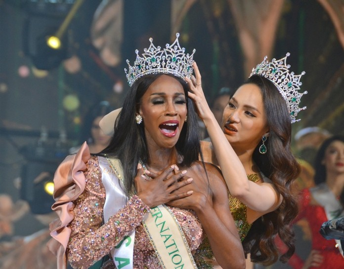 American Jazell Barbie Royale bested contestants from 20 countries to be named the winner of the 2019 Miss International Queen transgender pageant in Pattaya.