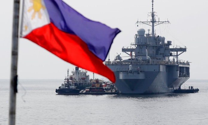 The USS Blue Ridge (LCC-19), the U.S. 7th Fleet Flagship, is anchored off Manila Bay west of Manila, Philippines for a routine port call Wednesday, March 13. (AP Photo/Bullit Marquez)