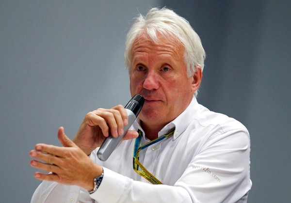 In this Oct. 10, 2014, file photo, Charlie Whiting, International Automobile Federation, or FIA, Race Director, talks during a news conference at the 'Sochi Autodrom' Formula One circuit in Sochi, Russia. (AP Photo/Pavel Golovkin)