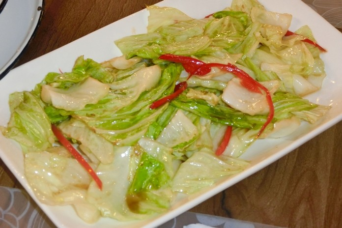 Traditional fried cabbage with fish sauce.