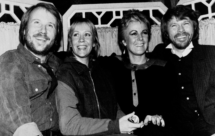 Swedish pop group ABBA are pictured at the Dorchester Hotel in London in this file photo dated Nov. 5, 1982. (AP Photo/Dave Caulkin)