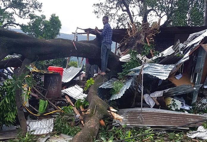 A man stands on fallen trees which damaged his home in Moroni, Comoros, Thursday, April 25, 2019 after Cyclone Kenneth hit the island nation of Comoros. (AP PhotoAnziza M'Changama)