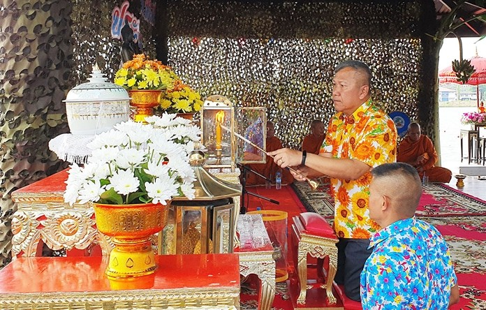 Rear Adm. Wara Tankham presides over religious ceremonies to start Songkran celebrations at the Air and Coastal Defense Command in Sattahip.