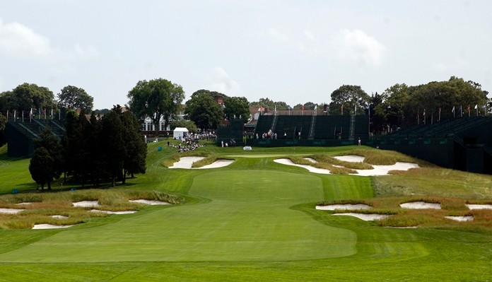 Bunkers line the fairway and protect the green on the 18th hole of Bethpage State Park's Black Course in Farmingdale, N.Y. Bethpage is hosting its third major when the PGA Championship starts May 16. (AP Photo/Jason DeCrow)